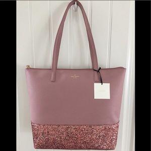 Kate spade large pink glitter tote shoulder bag